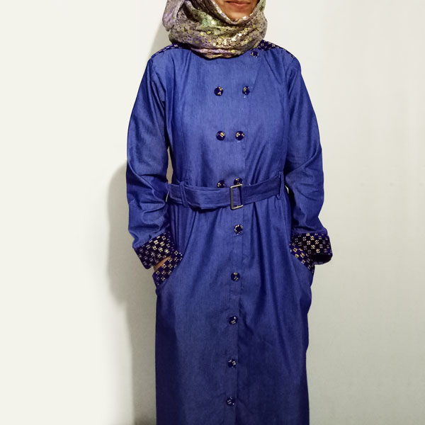 Denim-Abaya-Blue-Front-Buttoned-Checkered-Velvet-Strips-Stylish-Abaya