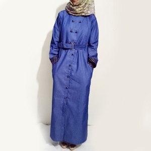 Denim-Abaya-Blue-Front-Buttoned-Checkered-Velvet-Strips