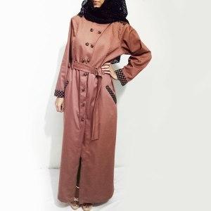 Denim-Abaya-Front-Buttoned-Checkered-Velvet-Strips-Online
