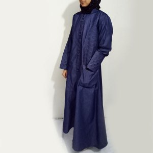 Denim-Abaya-Front-Buttoned-With-Thread-Design-Online-In-Pakistan-online-abaya-shopping-in-pakistan