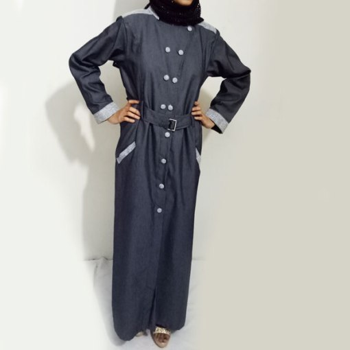 Denim-Abaya-Grey-Front-Buttoned-Checkered-Velvet-Strips-And-Turkish-Coat-Online-In-Pakistan