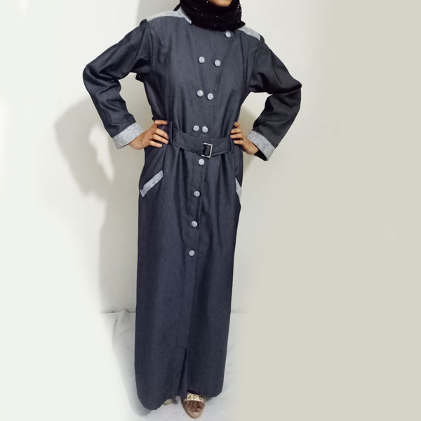 Denim-Abaya 2018-Grey-Front-Buttoned-Checkered-Velvet-Strips-And-Turkish-Coat-Online-In-Pakistan