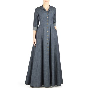 Grey-Summer-Wear-Maxi-Style-Denim-Abaya-2018-Design