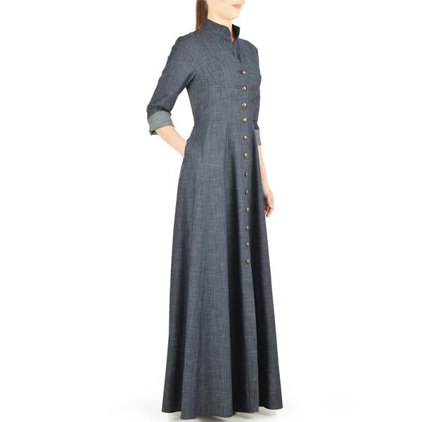 Grey-Summer-Wear-Maxi Style Denim Abaya-Latest-Design