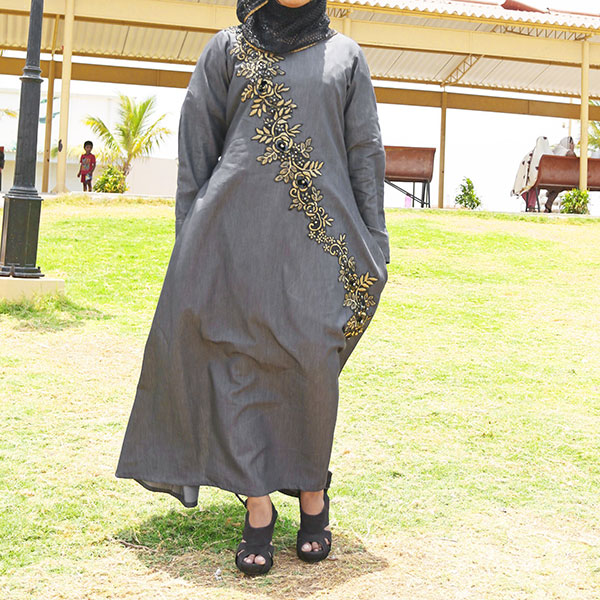 Buy-Front-Embroidered-Denim-Abaya-Online-In-Pakistan