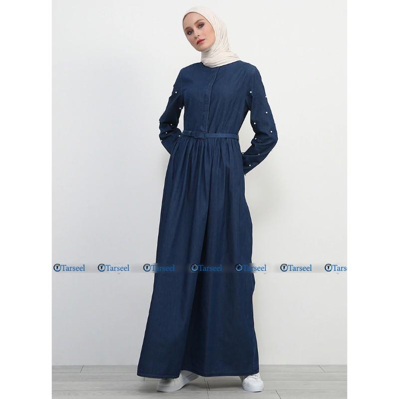 Buy Stylish Fashionable Flare Design Denim Abaya With Pearls On Sleeves