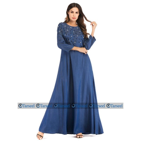 Designer Flare Style Abaya With Rich Pearls On Chest