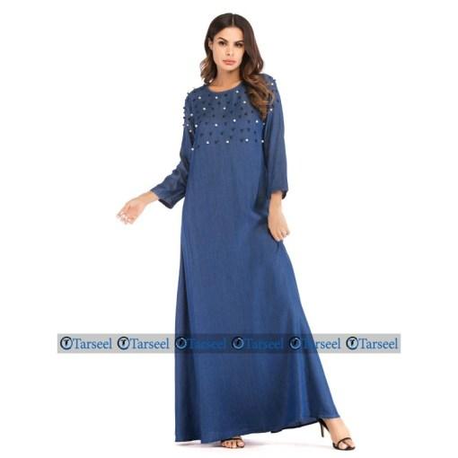 Designer Flare Style Denim Abaya With Black And White Pearls