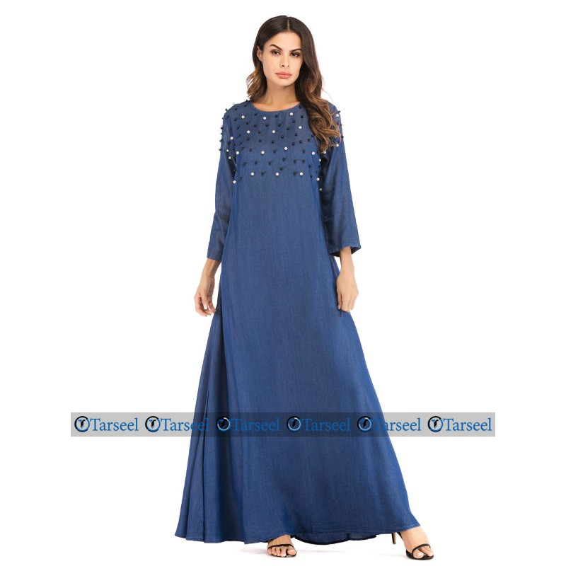 Designer Flare Style Denim Abaya With Rich Pearls On Chest