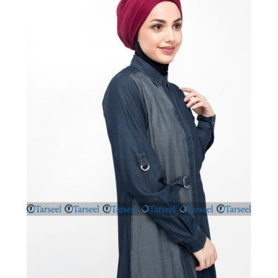 Reversible Abaya Side Belted Denim Abaya