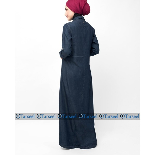 Reversible Denim Abaya Fashionable Abaya With Waist Belt