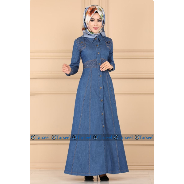Special Thread Design Abaya Four Season Front Open Denim Jeans Abaya Designer Abaya Jilbab For Her