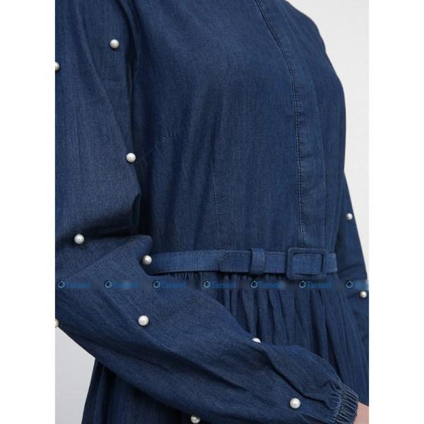 Stylish Fashionable Denim Abaya With Pearls On Sleeves