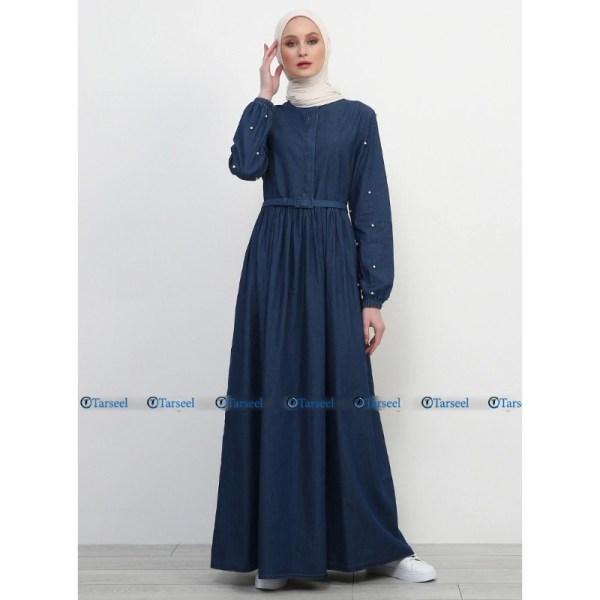 Stylish Fashionable Flare Design Denim Abaya With Pearls On Sleeves