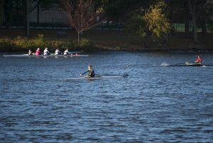 Maddie Hopkins competes in Head of the Charles. Photo by Madeline Linnell