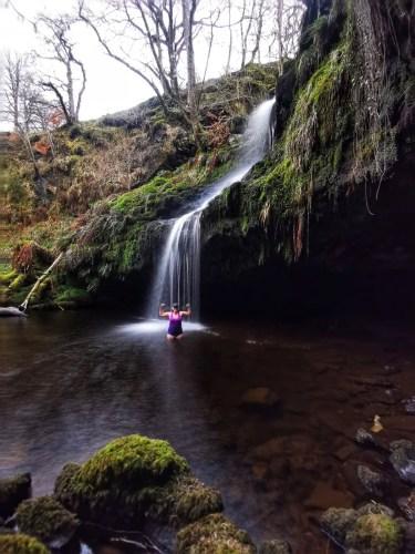 Girl in Gilmour's Linn Waterfall