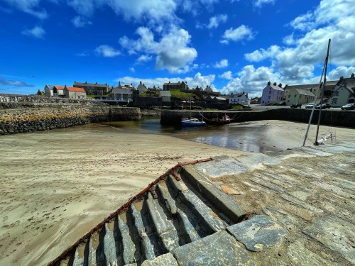 beach at portsoy harbour
