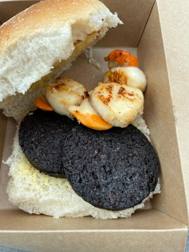 Scallops and blackpudding roll north uist