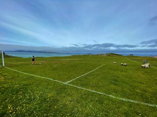 Girls on Eriskay football pitch