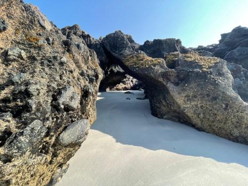 Balephetrish rock arch on beach