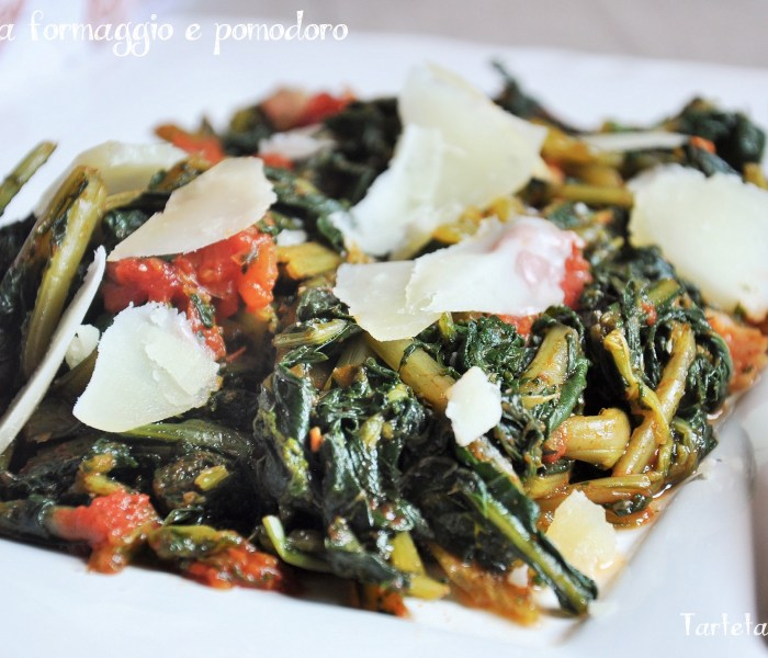 Cicoria formaggio e pomodoro  per l'Italia nel Piatto