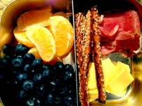 Serrano Ham, Whole Wheat Pretzel Sticks, American Cheese, Blueberries, Satsumas