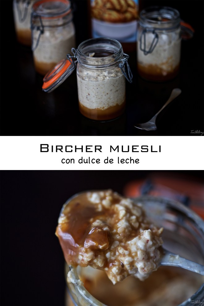 Bircher muesli con dulce de leche