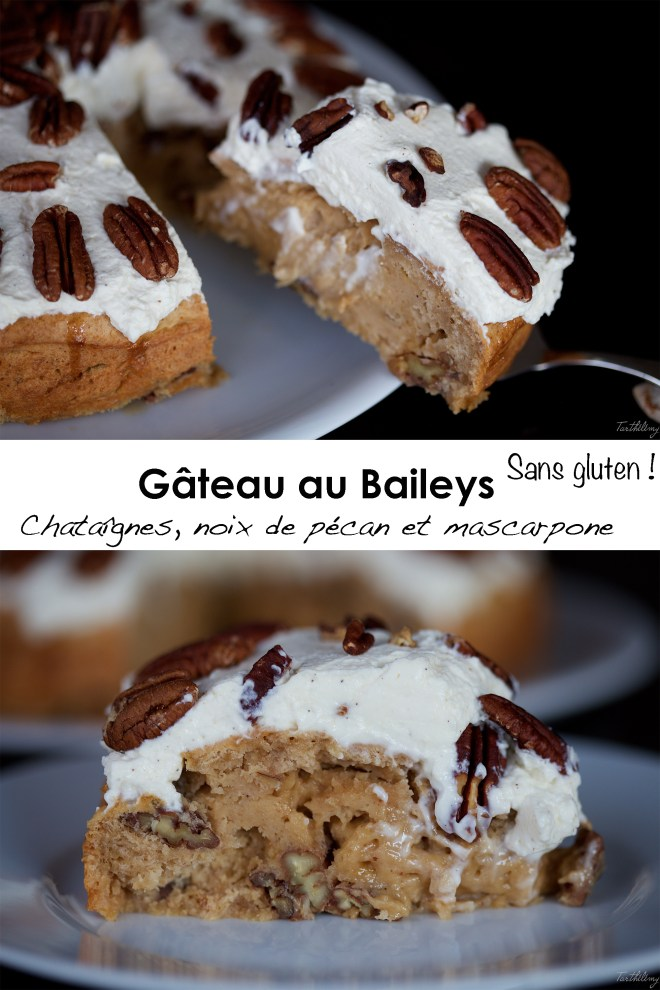 Gâteau au Baileys, châtaignes, pécan et mascarpone sans gluten