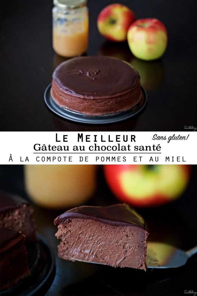 Le gâteau au chocolat, à la compote de pomme et au miel