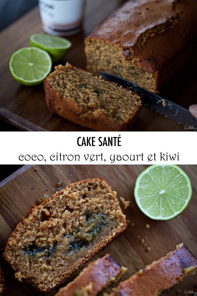 Cake santé coco, citron vert, yaourt et kiwi