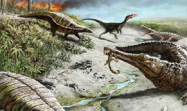الديناصورات والتماسيح عاشت معا منذ 225 مليون عام