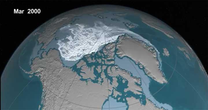 فيديو من ناسا للذوبان السريع لجليد القطب الشمالي طوال 30 عاما