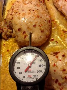 140F. Correct temperature for chicken breasts.