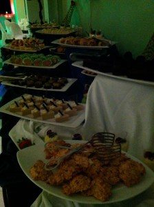 The photo is a little dark, but this is part of the dessert table. Sadly, the desserts were pretty marginal, too.