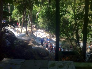 My first glimpse of Dunn's River Falls.