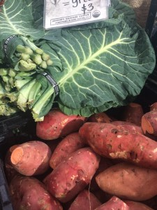 Collards and sweet potatoes. A symbiotic relationship. JBG.