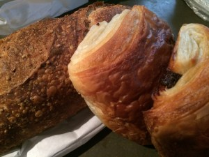 My purchases #1: Baguette et Chocolat - chocolate croissants, 6-grain sourdough.