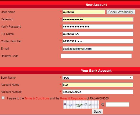 Cara daftar Judi Online di rajahoki365