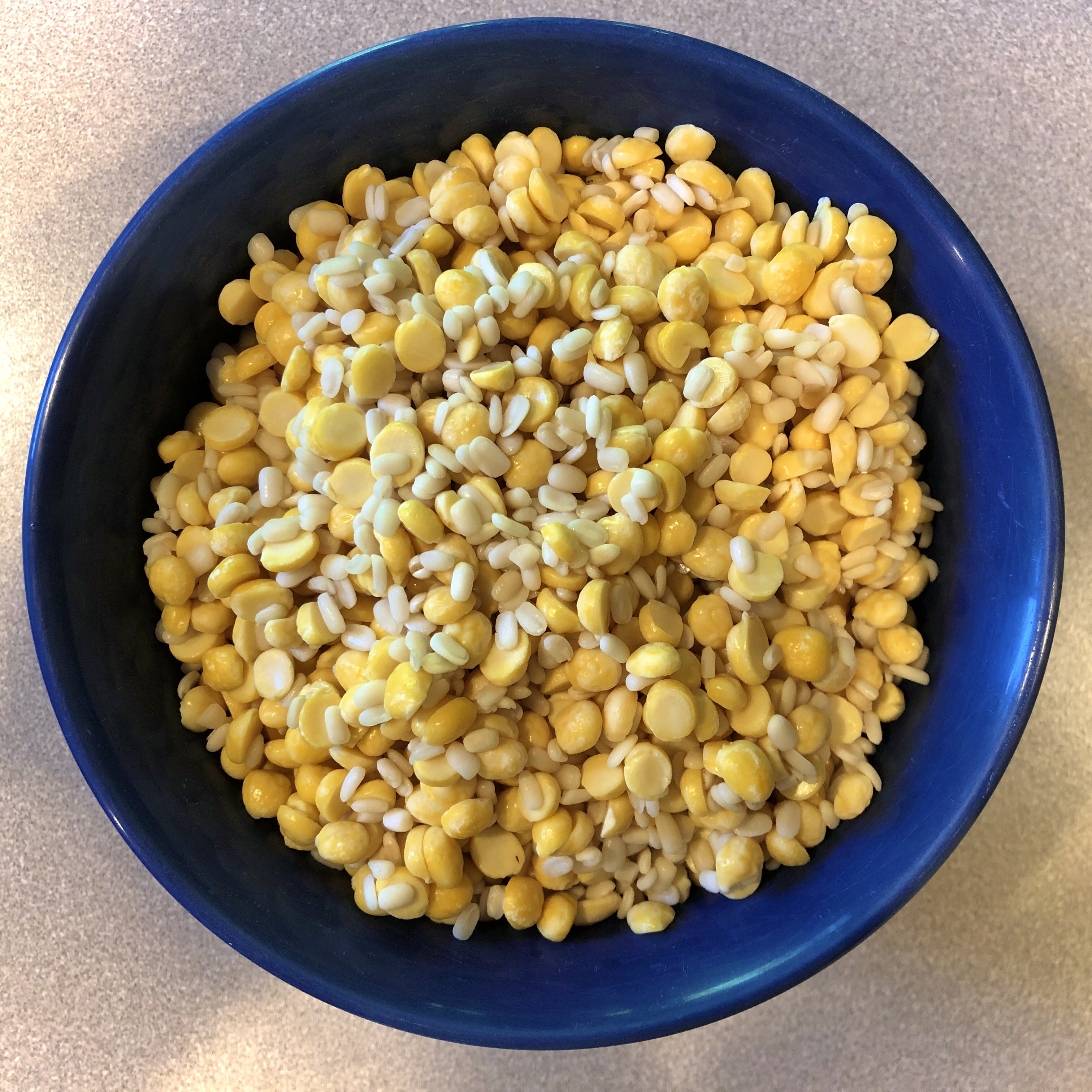Soaked lentils in a bowl