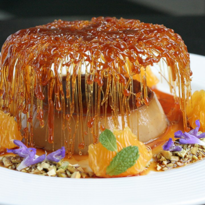 Leche Flan with caramel cage