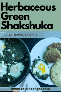 Herbaceous Israeli Green Shakshuka and crispy potato Latke