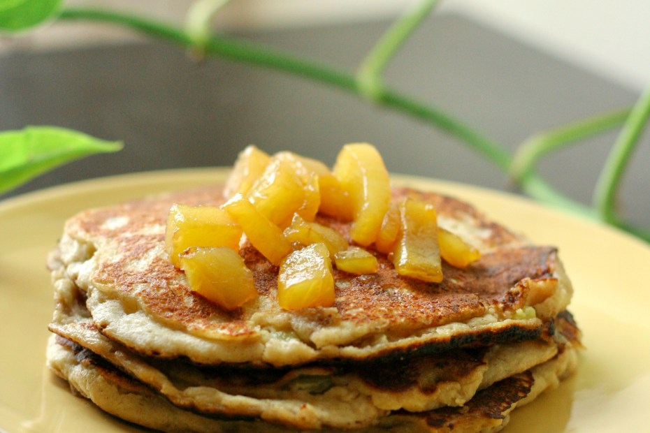 Banana Pineapple Oat Pancakes