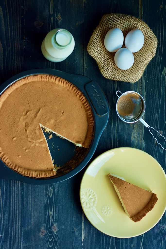 Simple South African Pie recipe Melktert top view