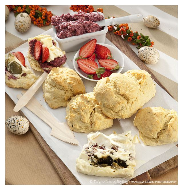 Lemon & Rosemary Scented Scones with jam butter and mascapone