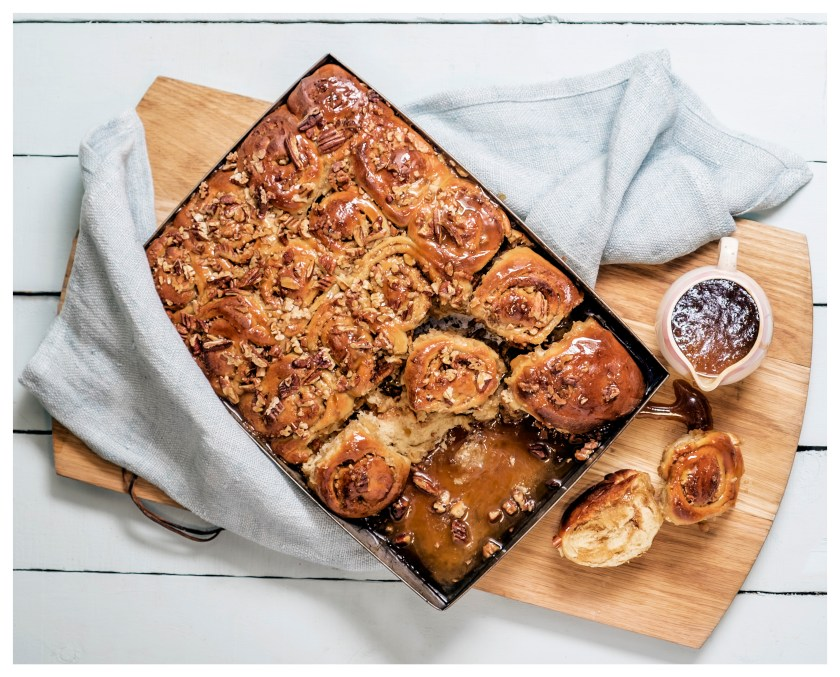 MAKE AHEAD PECAN & CINNAMON BUNS WITH STICKY COFFEE SYRUP