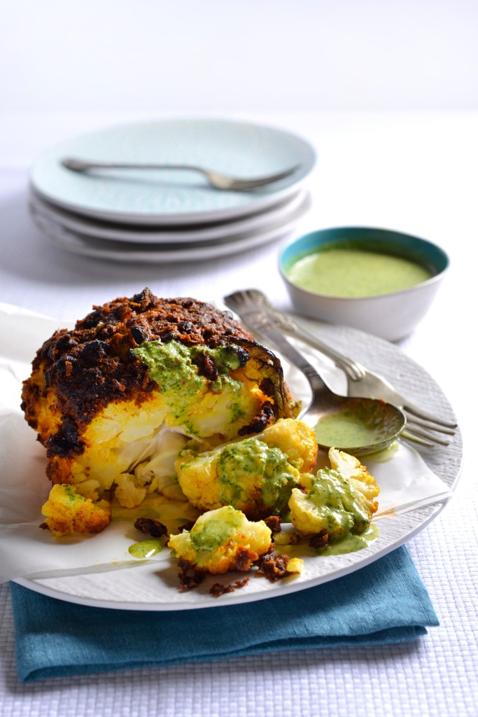 Tandoori style whole roast cauliflower with coriander