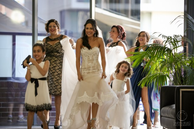 bridal party laughing together