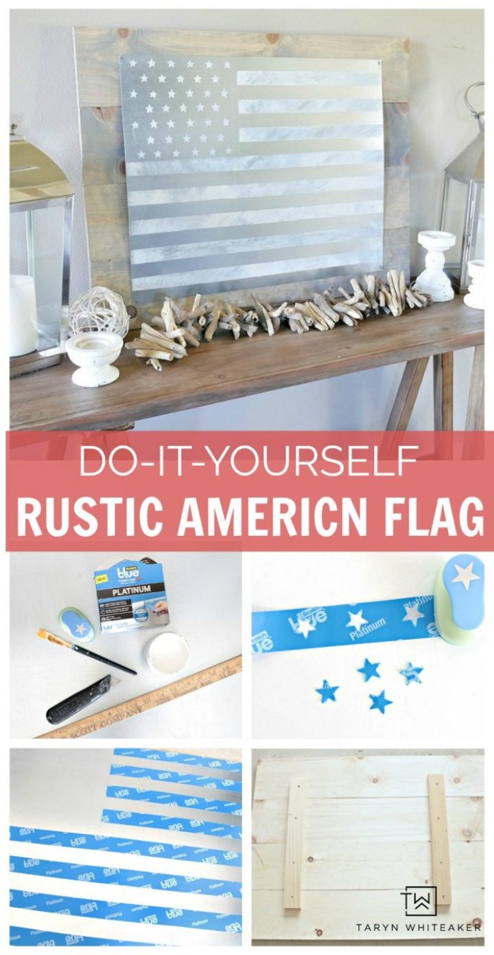 Learn how to make this DIY Rustic American Flag Sign using sheet metal, paint and mounted on a wood backdrop! Great piece of patriotic art to display in your home.
