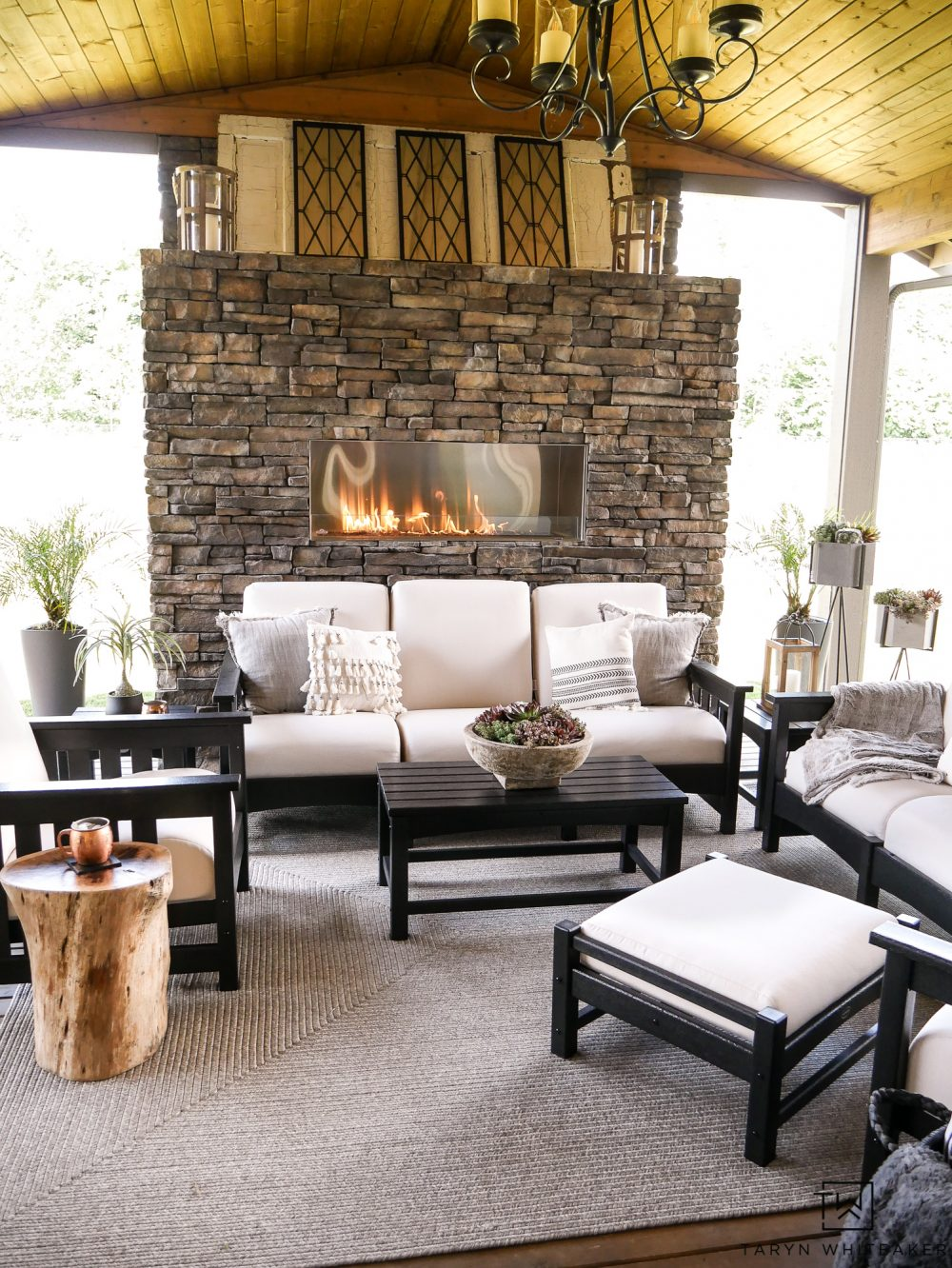 New Black and White Outdoor Patio Furniture With Stone ... on Black And White Backyard Decor  id=56697