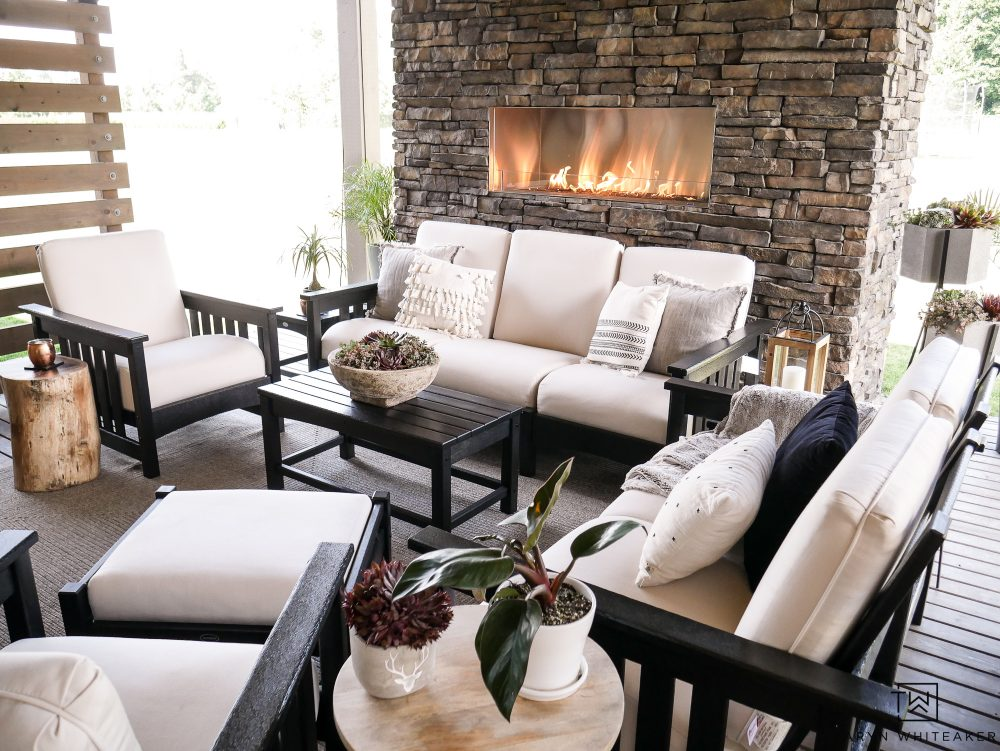 New Black and White Outdoor Patio Furniture With Stone ... on Black And White Backyard Decor  id=64938